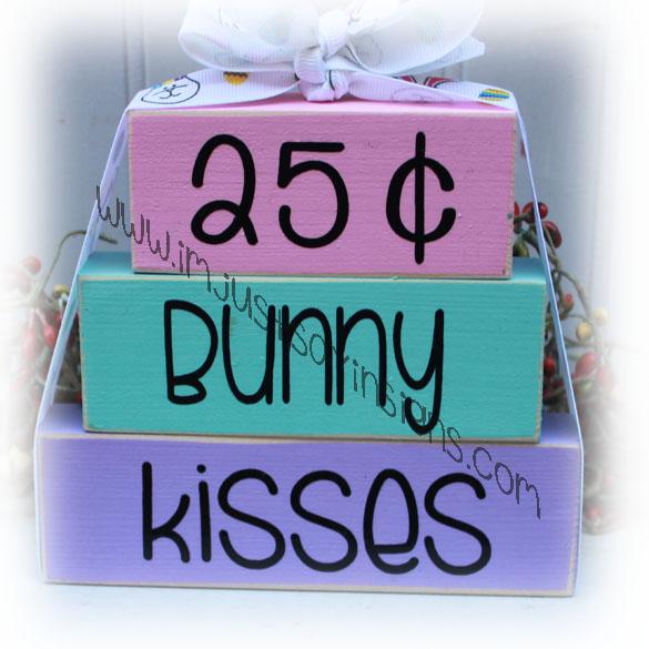 Easter decor 25 cents Bunny Kisses wood blocks
