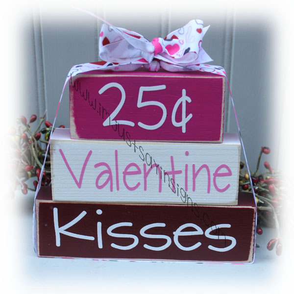 Valentines Day 25 cents wood itty bitty blocks