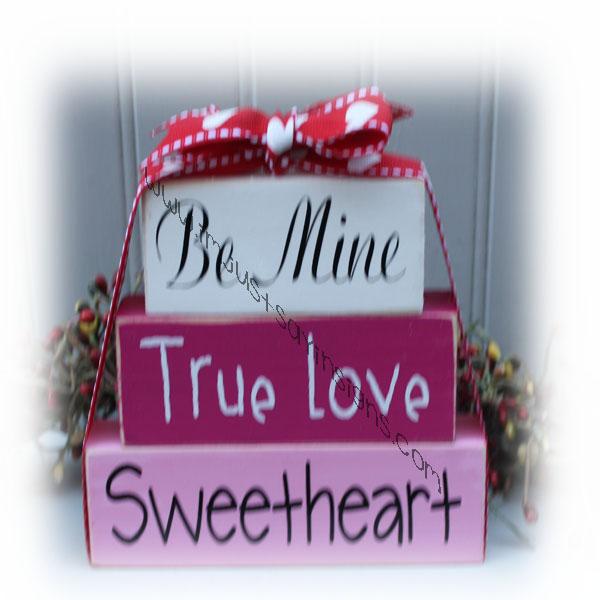 Be Mine True Love Sweetheart Itty Bitty Wood Blocks