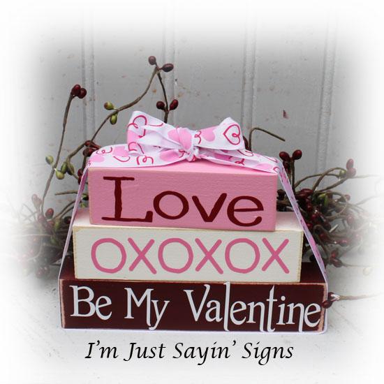 Love xoxoxo Be My Valentine Itty Bitty Wood Blocks