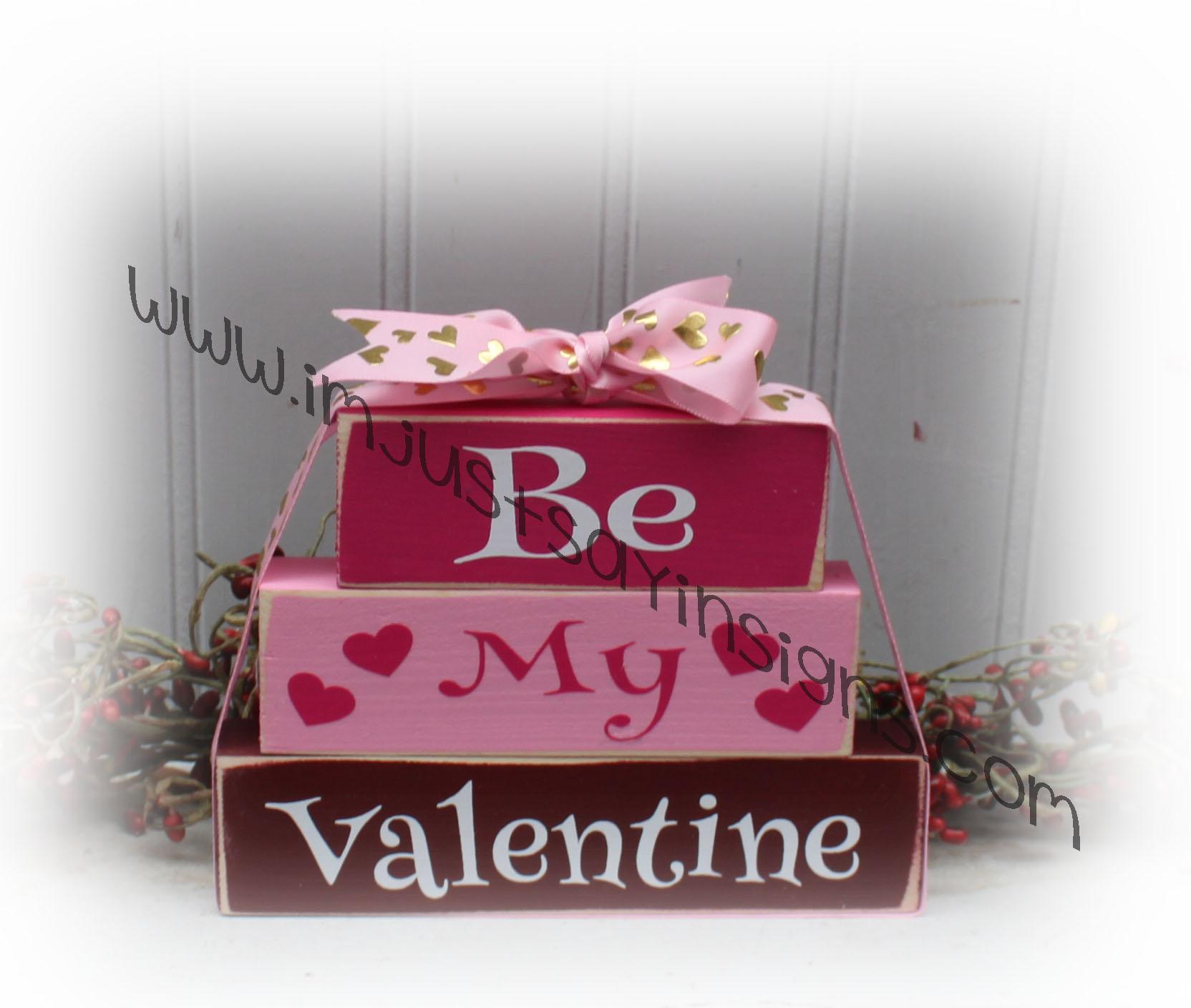 Valentines Day Be My Valentine Itty Bitty Wood Blocks