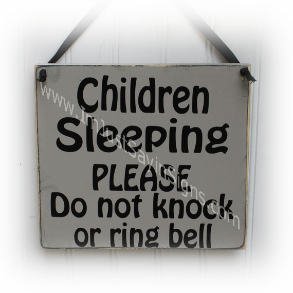 Children Sleeping Wood Sign