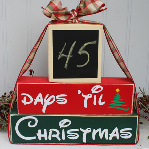 Countdown to Christmas Wood Stacking Blocks