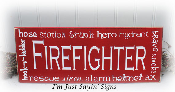 Firefighter Wood Subway Art Sign