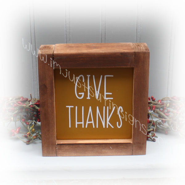 Give Thanks Mini Framed Farmhouse Sign