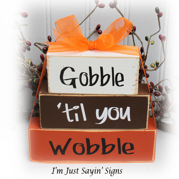 Gobble Til You Wobble Itty Bitty Wood Stacking Blocks