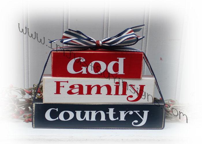 God Family Country Itty Bitty Patriotic Blocks