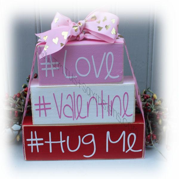 # Love, # Valentine, # Hug Me Itty Bitty Wood Blocks