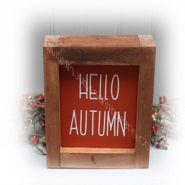 Hello Autumn Mini Farmhouse Framed Sign
