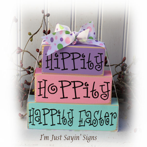 Easter Cute Hippity Hoppity Happity Easter Itty Bitty Stacking Blocks