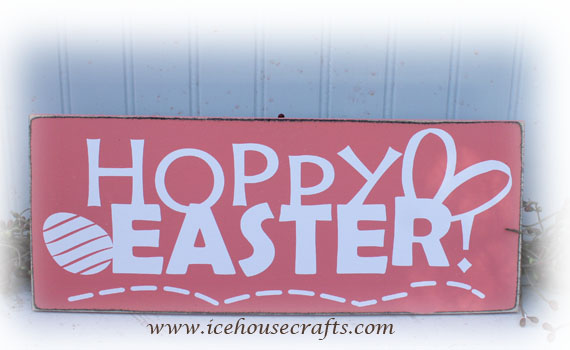 Easter Holiday Decor Hoppy Easter Wood Sign
