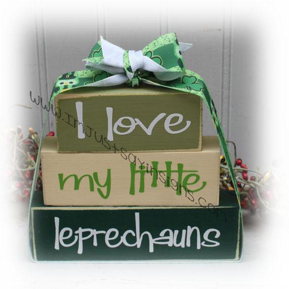 I Love My Little Leprechauns Itty Bitty Wood Blocks