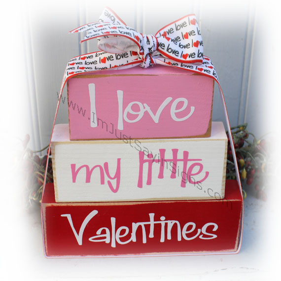Valentines Day I Love my Little Valentines Itty Bitty Wood Blocks