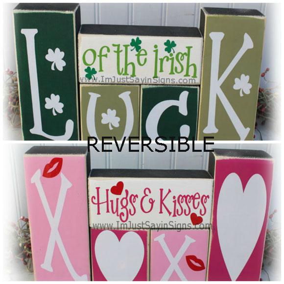 St. Patricks Day Valentines Day Reversible Wood Blocks