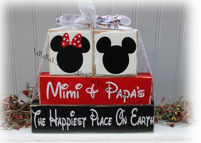Mimi & Papas House Happiest Place On Earth Wood Blocks