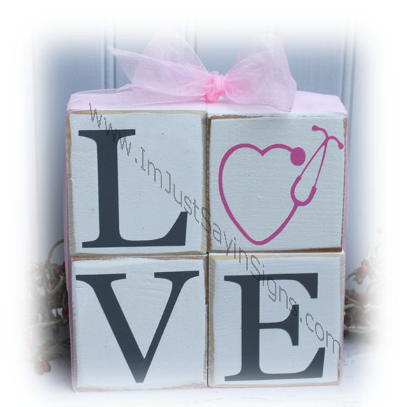 Nurse Love Wood Quad Wood Blocks