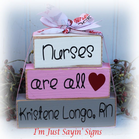 Personalized Nurses Are All Heart Itty Bitty Wood Stacking Blocks