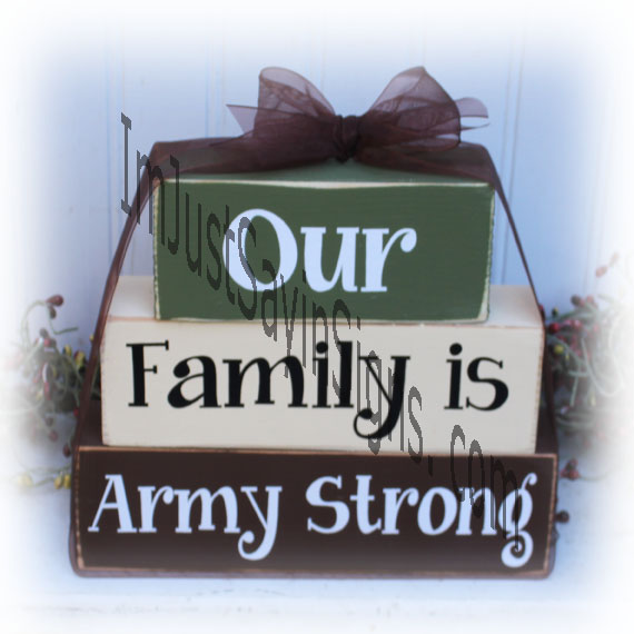 Our Family Is Army Strong Large Wood Stacking Blocks