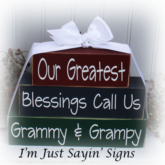 Our Greatest Blessings Call Us Grammy & Grampy Custom  Wood Stacking Blocks