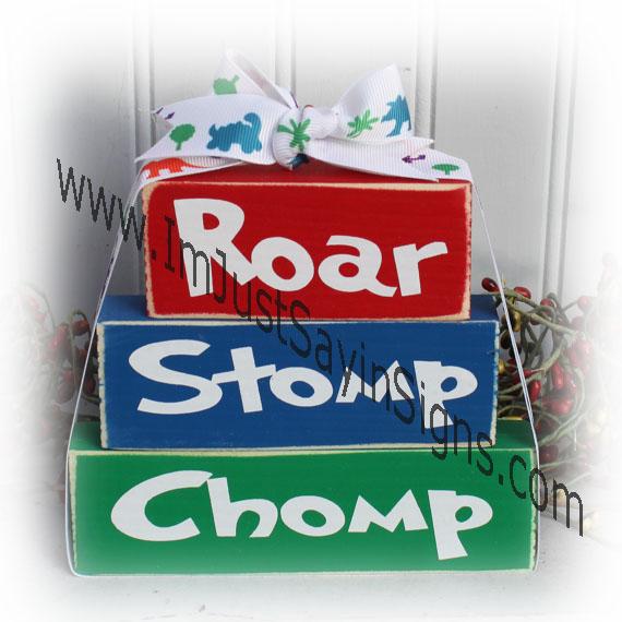 Roar Stomp Chomp Itty Bitty Wood Stacking Blocks