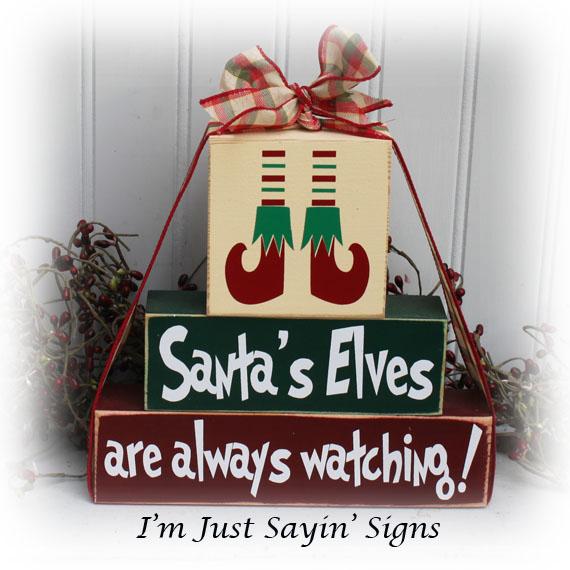 Santas Elves Are Always Watching Wood Stacking Blocks