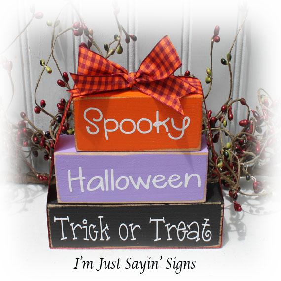 Spooky Wood Halloween Stacking Blocks